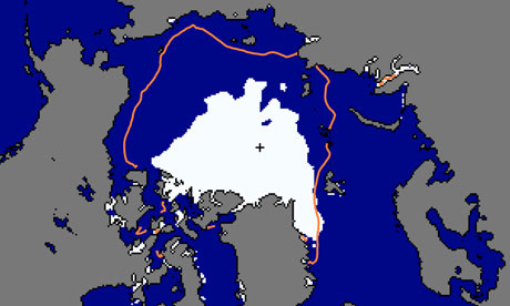 Arctic sea ice extent on 12 September 2012, in white, compared with the 1979-2000 median, marked with a red line.