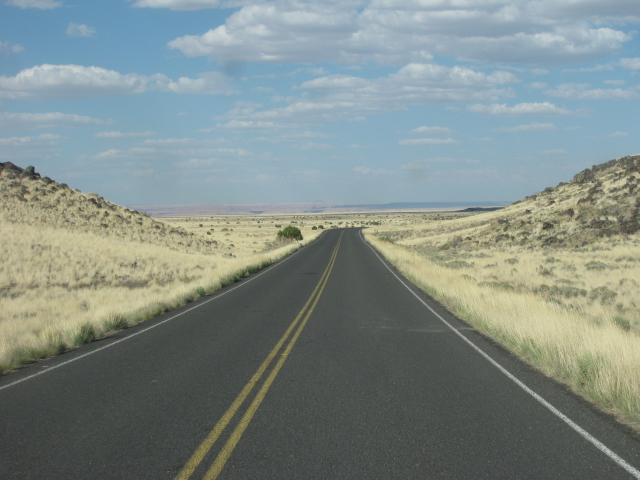 A long road leads to Wupatki ruins