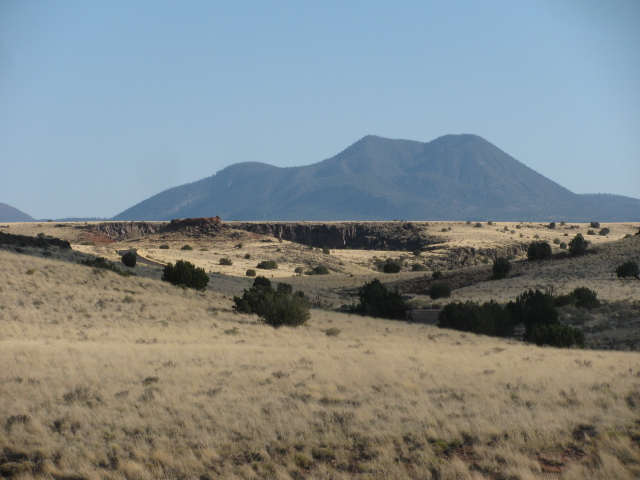 The San Francisco Peaks stand out in the distance