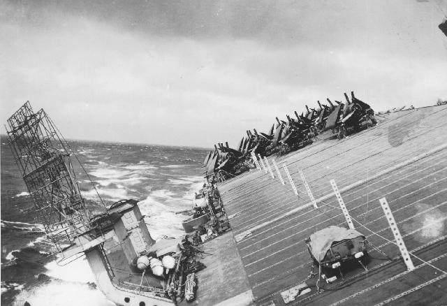 USS Cowpens during Typhoon Cobra!
