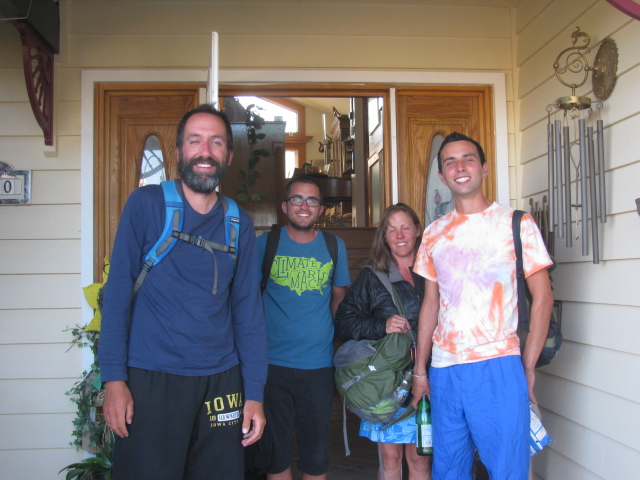 After hiking all day, this group of tired marchers enjoyed a warm shower at a local home.