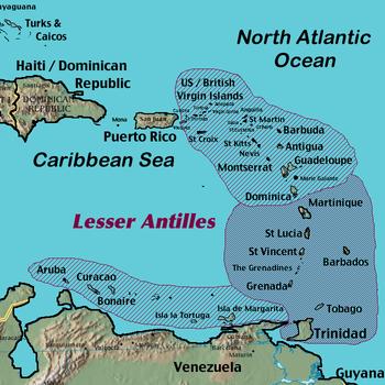 Ever wonder where the Lesser Antilles were?