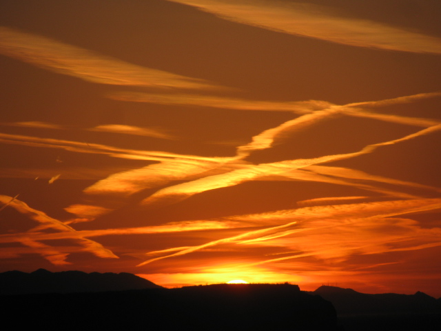 Sunset or Sunset 4.  Cloud or Contrail?