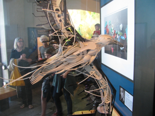 A sculpture of a sea gull made of plastic
